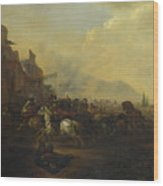 Cavalry Attacking A Fortified Place Wood Print