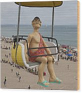 Caveman Above Beach Santa Cruz Boardwalk Wood Print