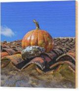 Ceramic Pumpkin On A Roof Wood Print