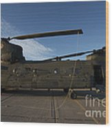 Ch-47 Chinook Helicopter On The Tarmac Wood Print