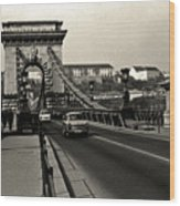 Chain Bridge Of Budapest In 1990 Wood Print