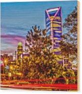 Charlotte City Skyline Early Morning At Sunrise Wood Print