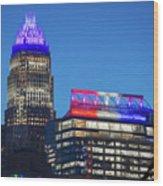 Charlotte North Carolina Skyline City View Wood Print