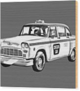 Checkered Taxi Cab Illustrastion Wood Print