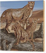 Cheetah Family Tree Wood Print