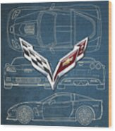Chevrolet Corvette 3 D Badge Over Corvette C 6 Z R 1 Blueprint Wood Print
