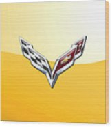 Chevrolet Corvette 3d Badge On Yellow Wood Print