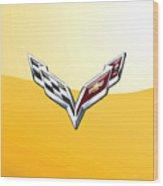 Chevrolet Corvette 3D Badge on Yellow Wood Print