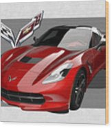 Chevrolet Corvette  C 7  Stingray With 3 D Badge  Wood Print