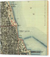 Chicago Old Map Wood Print