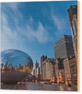 Chicago Skyline And Bean At Sunrise Wood Print by Sven Brogren