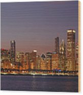 Chicago Skyline At Dusk Panorama Wood Print