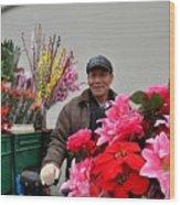 Chinese Bicycle Flower Vendor On Street Shanghai China Wood Print