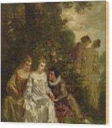 Chivalric Scene In A Park Wood Print