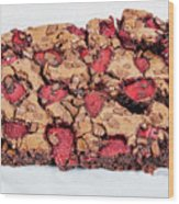 Chocolate Cake With Strawberry On Porcelain Plate Wood Print