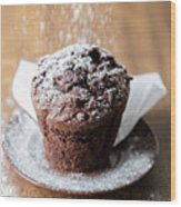 Chocolate Muffin With Powdered Sugar Wood Print