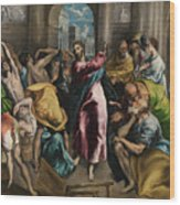 Christ Driving The Traders From The Temple Wood Print