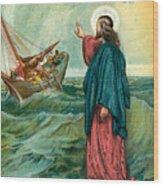 Christ Walking On The Sea Wood Print