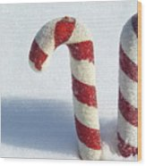 Christmas Candy Canes On Real Snow Wood Print
