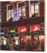 Christmas Decorations On The Buildings, Bruges City Wood Print