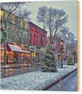 Christmas On Main Street Wood Print