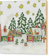 Christmas Picture In Green And Yellow Colours Wood Print