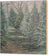 Christmas Tree Lot Wood Print