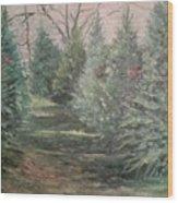 Christmas Tree Lot Wood Print by Rosemary Kavanagh