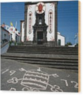 Church In The Azores Wood Print