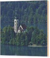 Church Of Mary On Bled Island Wood Print