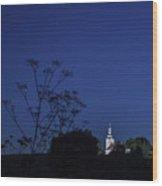 Church Under Night Sky Wood Print