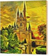 Cinderella Castle - Van Gogh Style Wood Print