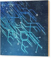 Circuit Board Technology Wood Print