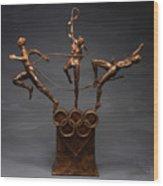 Citius Altius Fortius Olympic Art On Gray Wood Print