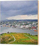 Cityscape Of Saint John's From Signal Hill Wood Print