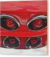 Classic Car Tail Lights Wood Print