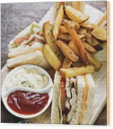 Classic Club Sandwich With Fries On Wooden Board Wood Print