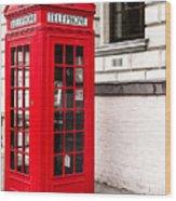 Classic Red London Telephone Box Wood Print