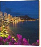 Classic Waikiki Nightime Wood Print by Tomas del Amo - Printscapes