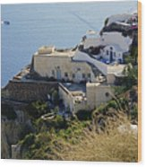 Cliff Perched Houses In The Town Of Oia On The Greek Island Of Santorini Greece Wood Print