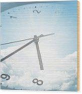 Clock In Sky 2 Wood Print