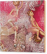 Close-up Of Toys On Christmas Tree Wood Print