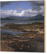 Cloud Passing Across The Cuillin Main Ridge And Bla Bheinn From Tokavaig Sleat Isle Of Skye Scotland Wood Print