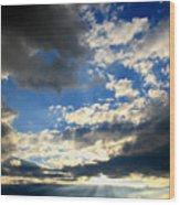 Clouded Sun Rays Wood Print