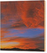 Clouds In The Sky At Sunset, Taos, Taos Wood Print