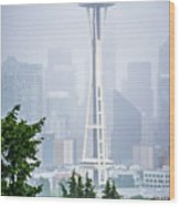 Cloudy And Foggy Day With Seattle Skyline Wood Print
