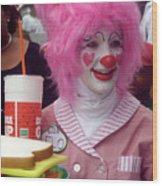 Clown With Pink Hair Wood Print