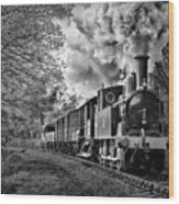 Coal Tank Engine In The Rain Wood Print
