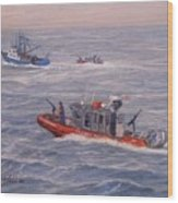 Coast Guard In Pursuit Wood Print