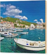 Coastal Town Of Hvar Waterfront Panorama Wood Print